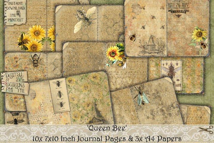 Queen Bee | Vintage | Printable | Bee Junk Journal Papers