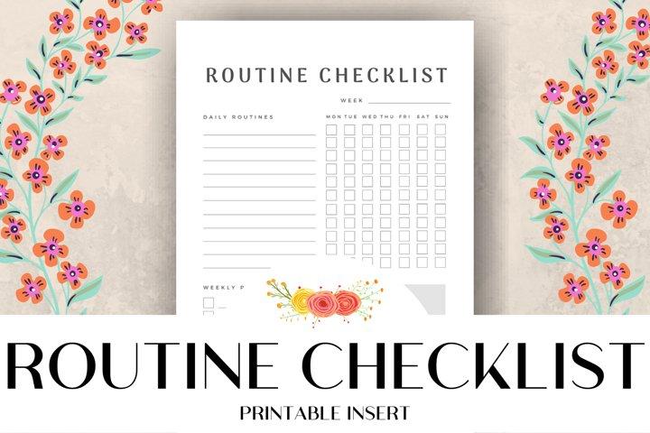 Routine Checklist Printable Sheet Insert