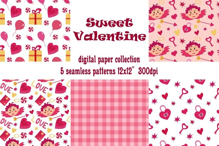 Valentines day digital papers. 5 seamless love patterns