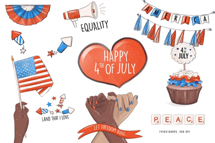 Independence day 4th July Instagram template highlight icons