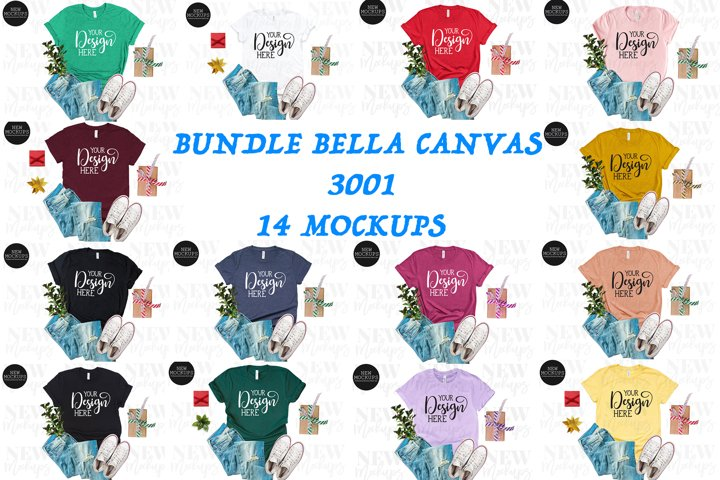 Bundle Bella Canvas 3001 14 Christmas T-Shirt Mockups