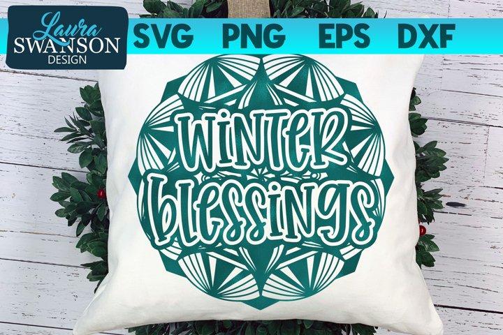 Winter Blessings Mandala SVG, PNG, EPS, DXF