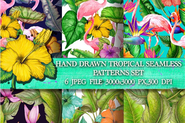 Watercolor tropical patterns pack