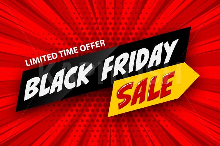 3d comic book red cartoon black friday sale banner