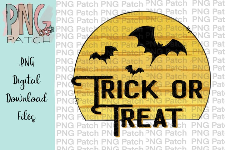 Trick or Treat with Moon and Bats, Halloween PNG File