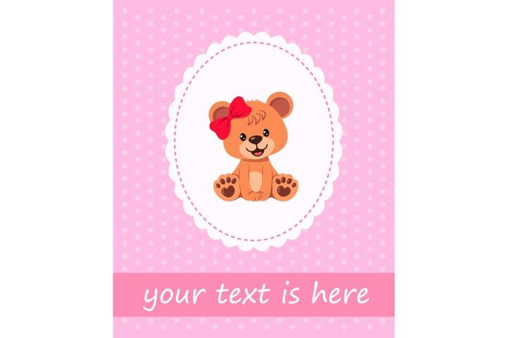 Cute character teddy bear girl on greeting card