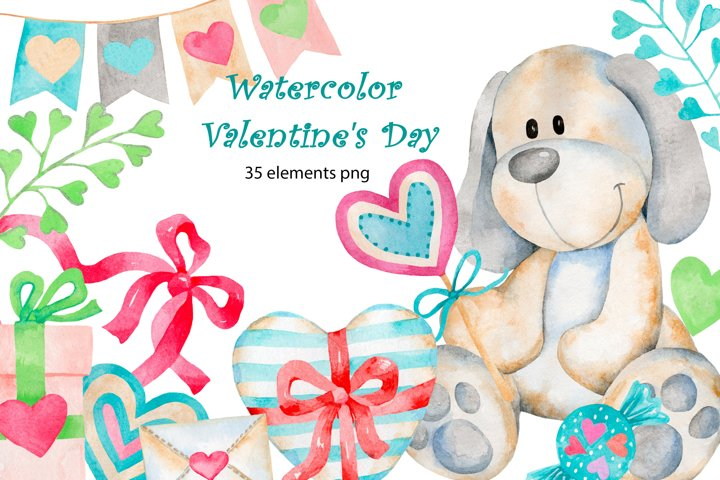 Valentines Day. watercolor clipart collection