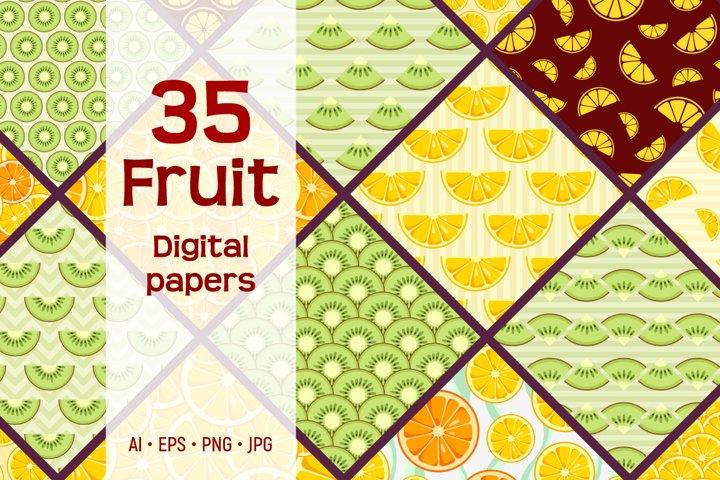 35 seamless citrus fruit vector patterns