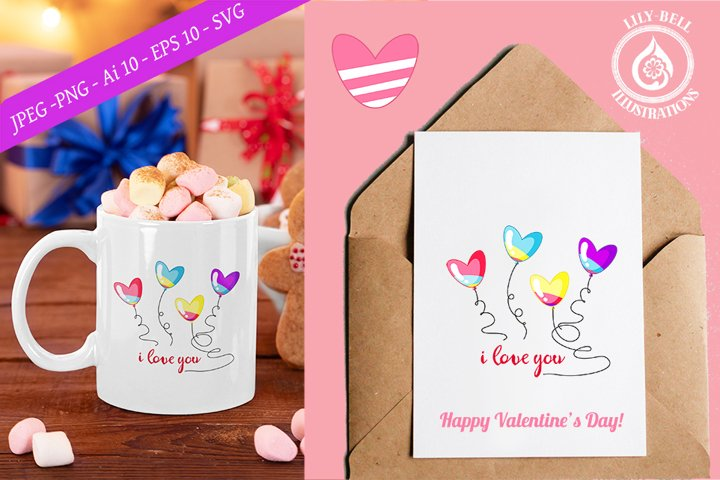 Cute rainbow hearts balloons with lettering