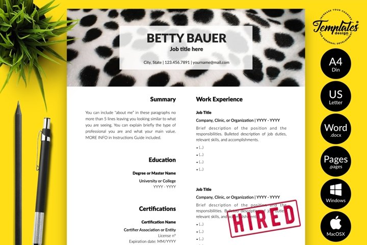 Animal Care Resume CV Template for Word & Pages Betty Bauer