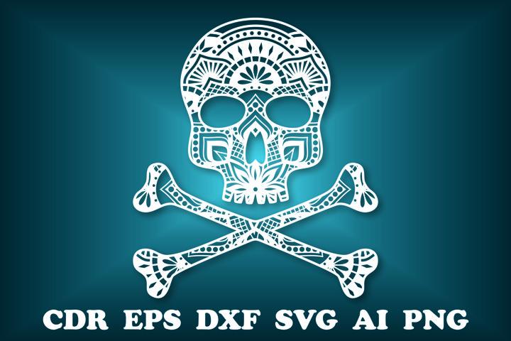Skull SVG, Halloween svg, Cut file Mandala, Skull Clipart