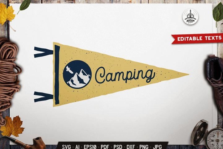 Camping SVG Badge Vector Retro Mountain Pennant Logo PNG