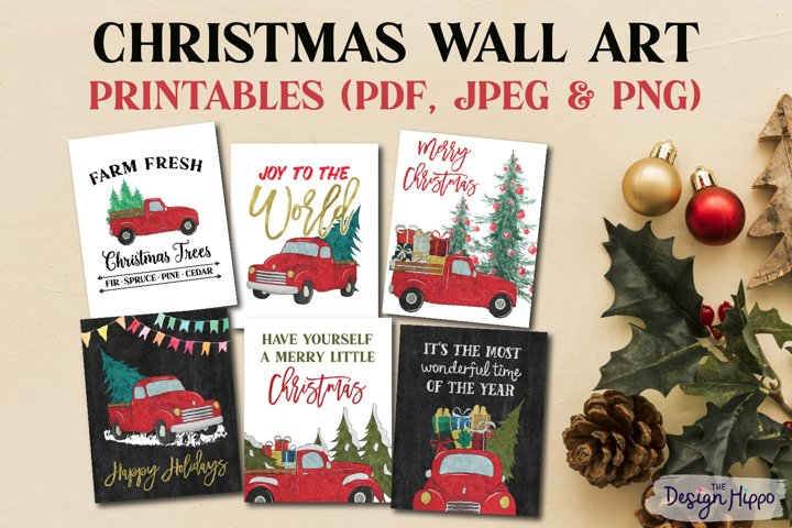 Christmas Wall Art Printables, Christmas Truck With Quotes