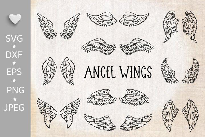 Wings bundle svg. Angel wings clipart. Fairy wings cut files