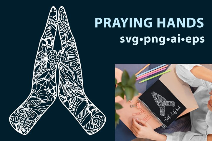 Praying hands in mandala style. Religious / Bible design