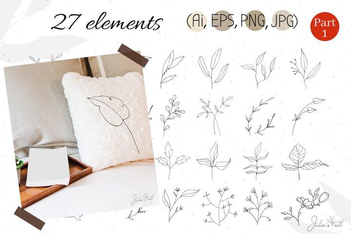 Botanical line art, vector, hand-drawn - Ai EPS PNG JPG