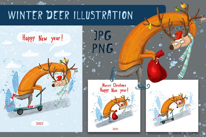 New Year and Christmas cards with a deer