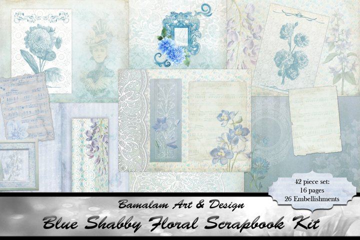 Shabby Blue Floral Scrapbook Kit