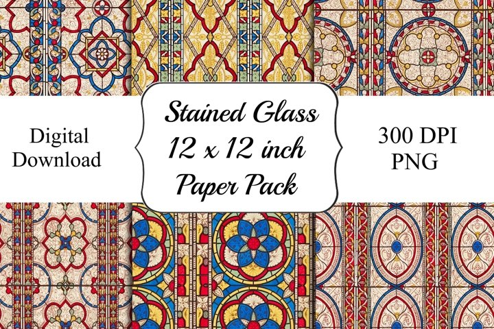 Stained Glass Digital 12 x 12 Patterned Backgrounds
