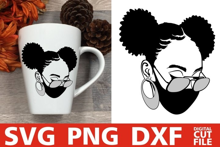 Afro Woman in Mask svg, Glasses svg, Afro Puffs svg, Melanin