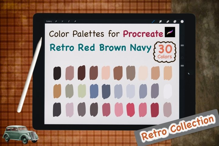 Color Palettes set for Procreate - Retro Red Brown Navy