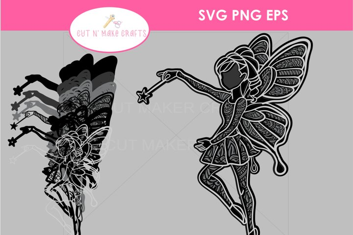 MULTILAYERED Fairy SVG, 3D FAIRYTALE Layered Mandala SVG