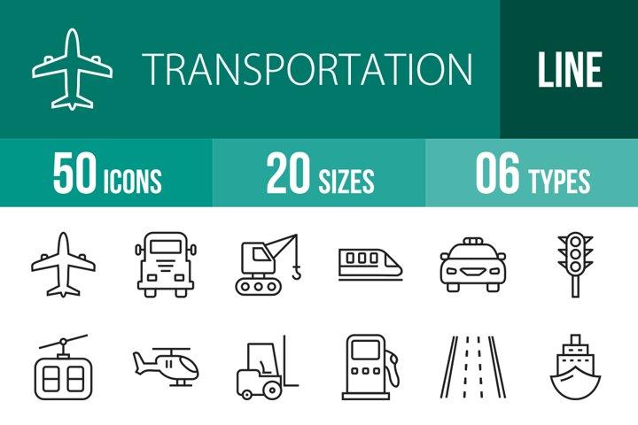 50 Transportation Line Icons Season II