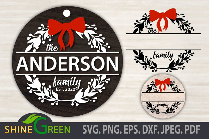 Christmas Ornament SVG Monogram Floral Family Frame