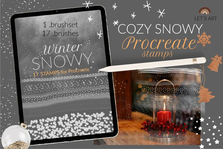 Snowy winter brushes and Procreate stamps