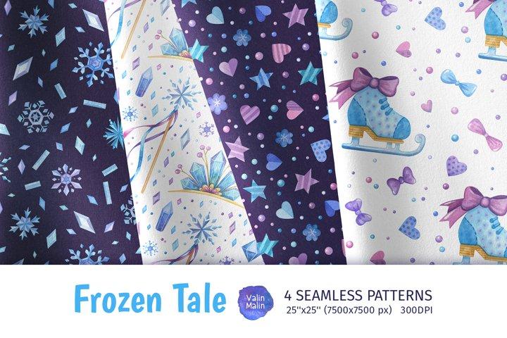 Frozen seamless patterns. Watercolor winter clipart
