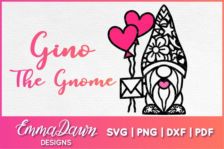 GINO THE GNOME SVG VALENTINES DAY MANDALA ZENTANGLE DESIGN
