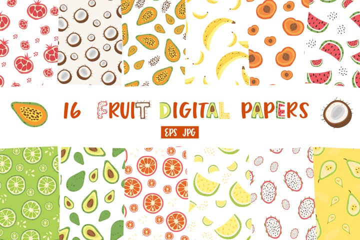 Fruit Digital Paper Pack, Fruit seamless pattern