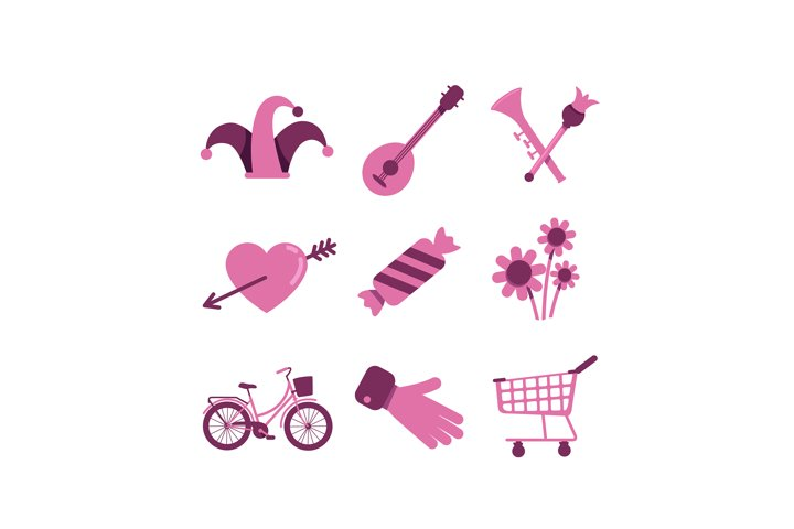 Valentines Day and shopping flat color vector objects set