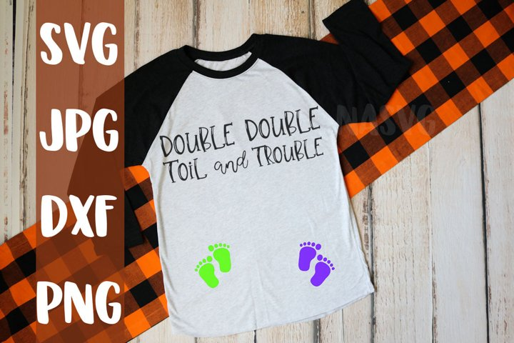 Double Double toil and trouble, maternity, Halloween, svg
