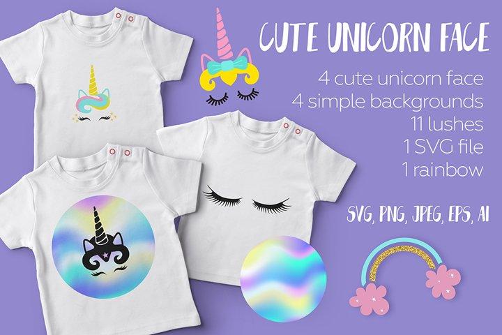 Cute unicorn face set.Cartoon eyelashes.Decoration