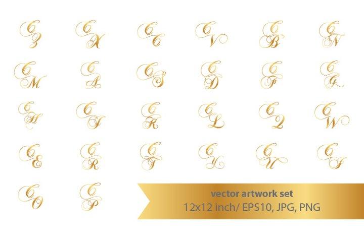 Calligraphic golden monogram set, letter C