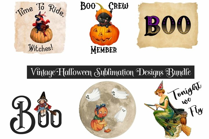 Halloween Sublimation Bundle Vintage Designs PNG Files