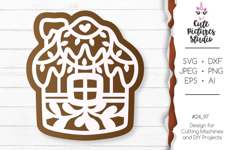 Christmas gingerbread set of Cricut SVG file, Gift tag svg example 4