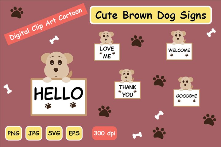 CUTE BROWN DOG Signs SVG CLIPART GRAPHIC SET