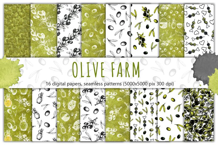 Olive branch digital papers, graphics textured watercolor