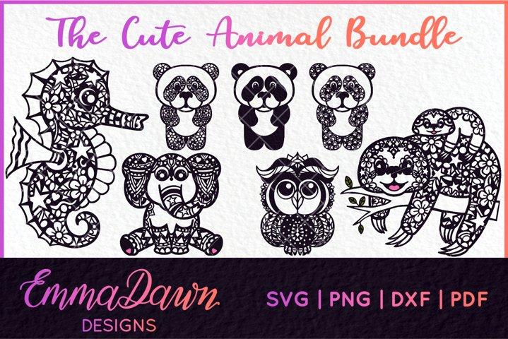 THE CUTE ANIMAL SVG BUNDLE of 7 ZENTANGLE DESIGNS