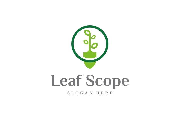 shovel and leaf logo design vector