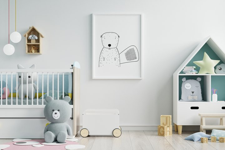 Wall art,Cute Bamboo rat animal clip art