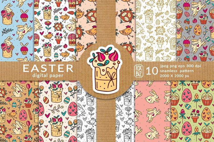 Easter digital paper, seamless pattern.