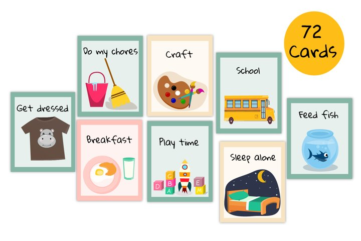 Routine cards, Visual Routine Schedule Autism,