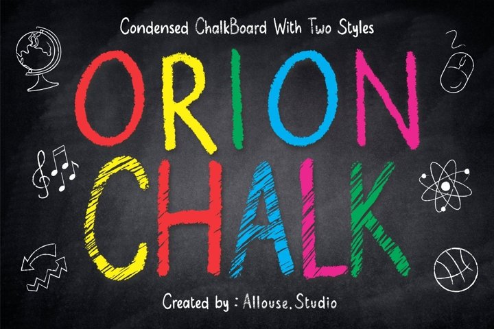 Orion Chalk Font - Two Styles - Solid & Scratch