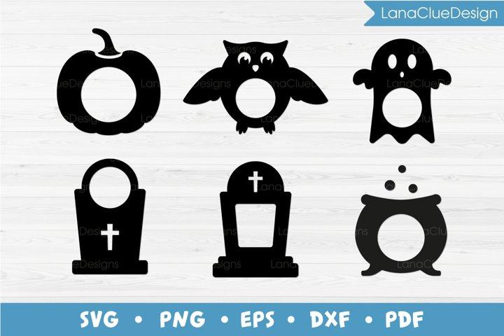 6 Halloween Monogram Frames Bundle SVG PNG DXF EPS PDF