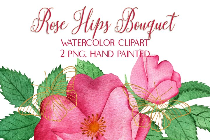 Watercolor Pink Rose Hips Bouquet Clip Art