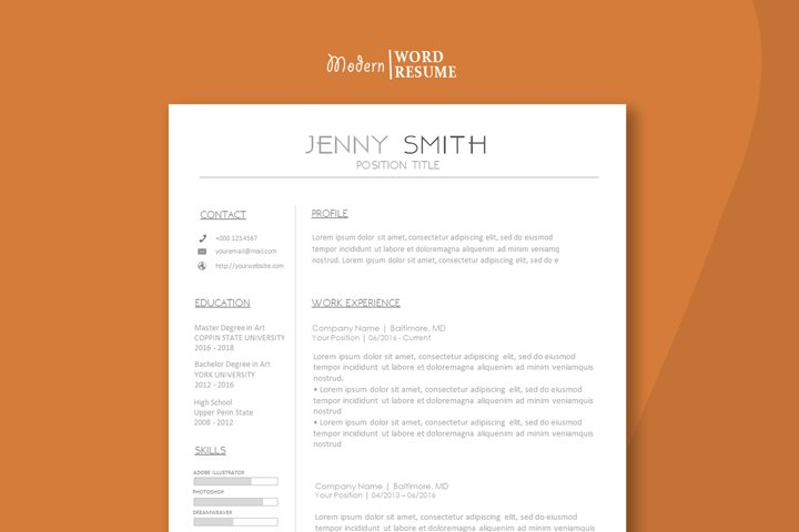Resume one page Cover letter Reference template Icons