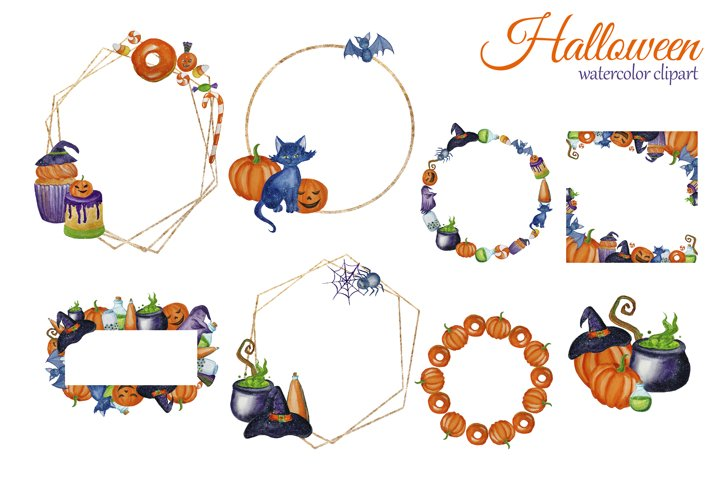 Watercolor Cute Halloween Clipart. Witch clip art example 1